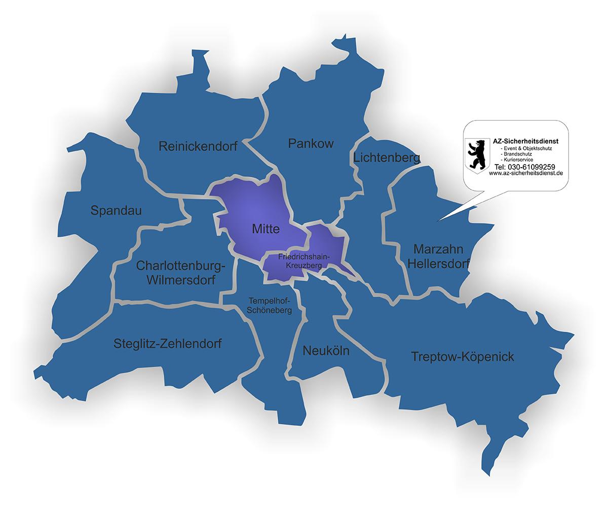 Sicherheitsdienst in Berlin Bezirke